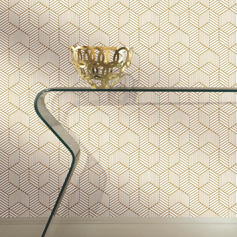 Striped Hexagon Peel & Stick Wallpaper in White and Gold by RoomMates for York Wallcoverings