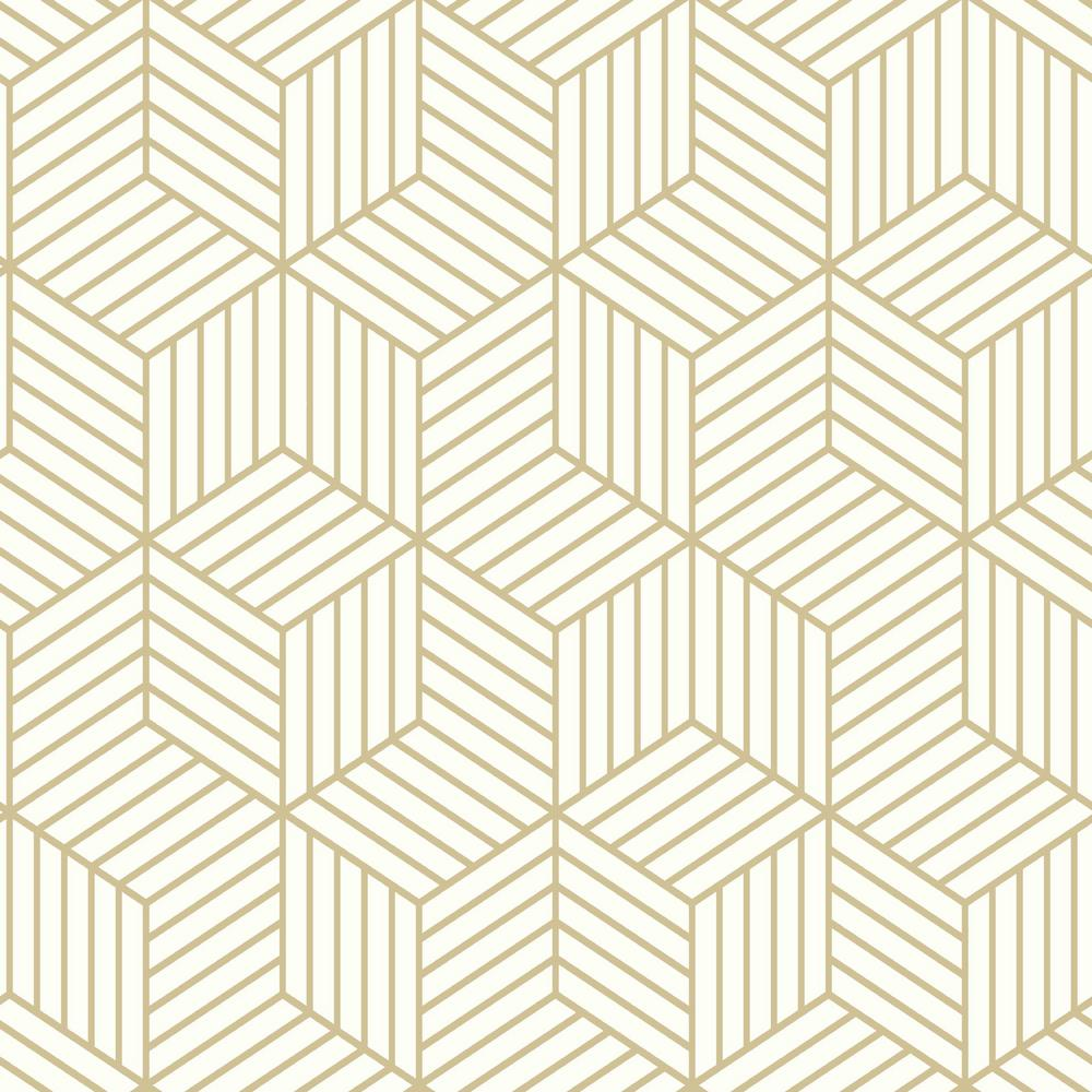 Stripped Hexagon Peel Stick Wallpaper In White And Gold By