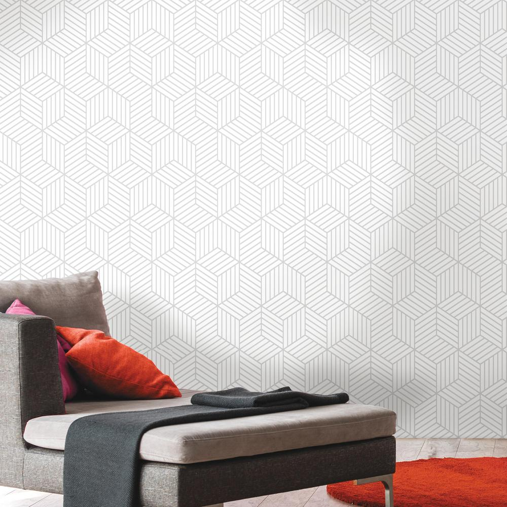 Stripped Hexagon Peel Stick Wallpaper In White And Grey By