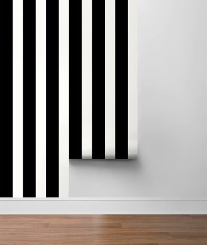 Stripes Peel-and-Stick Wallpaper in Black and White from the Luxe Haven Collection by Lillian August