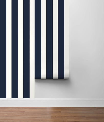 Stripes Peel-and-Stick Wallpaper in Midnight Blue and White from the Luxe Haven Collection by Lillian August