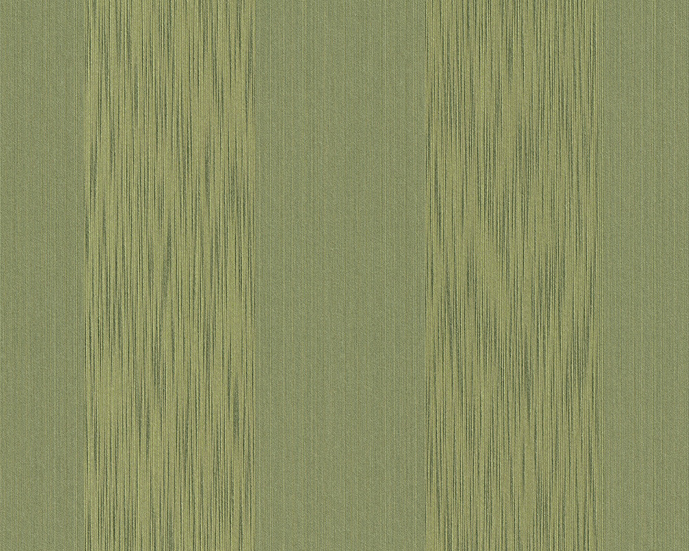 Stripes Faux Fabric Wallpaper in Green design by BD Wall