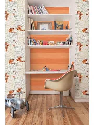 Stripes Wallpaper in Orange from the Day Dreamers Collection by Seabrook Wallcoverings