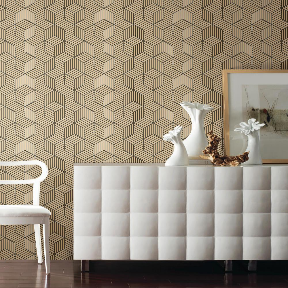 Stripped Hexagon Peel Stick Wallpaper In Gold And Black By
