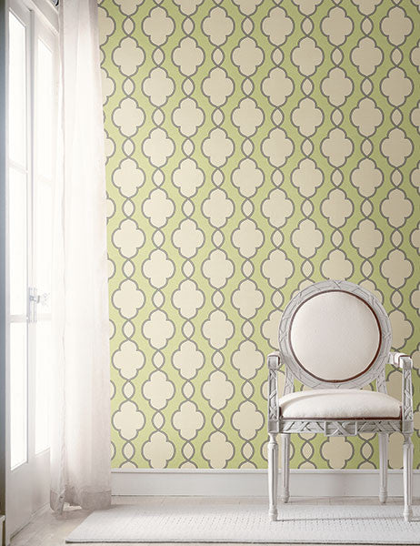 Structure Green Chain Link Wallpaper from the Symetrie Collection by Brewster Home Fashions