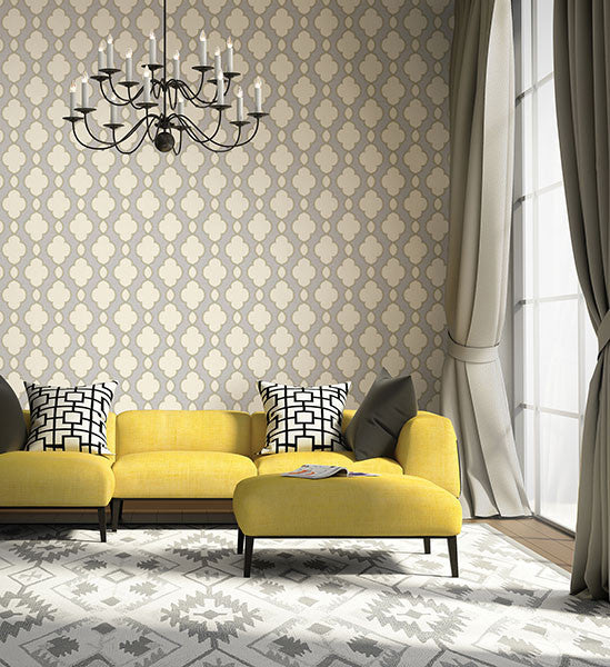Structure Silver Chain Link Wallpaper from the Symetrie Collection by Brewster Home Fashions