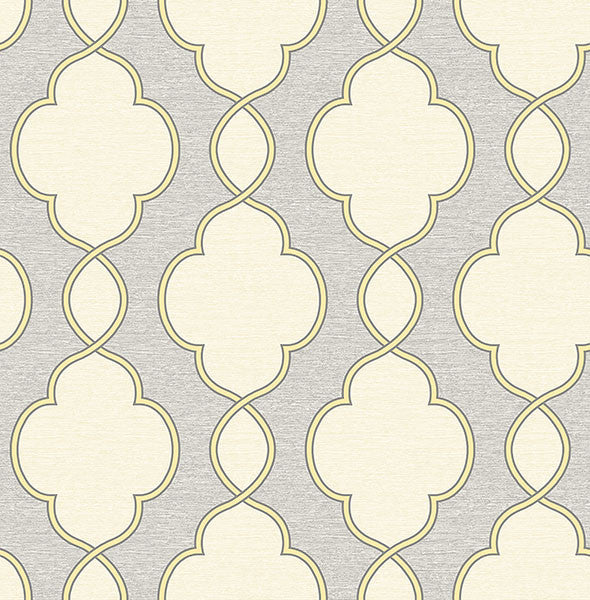 Sample Structure Yellow Chain Link Wallpaper from the Symetrie Collection by Brewster Home Fashions