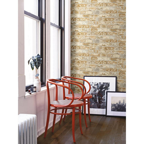 Stuccoed Brick Peel & Stick Wallpaper in Brown by RoomMates for York Wallcoverings