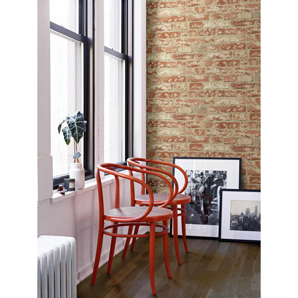 Stuccoed Brick Peel & Stick Wallpaper in Red by RoomMates ...