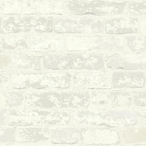 Stuccoed Brick Peel & Stick Wallpaper in White by RoomMates for York Wallcoverings