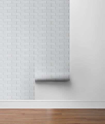 Subway Tile Peel-and-Stick Wallpaper in Ivory by NextWall