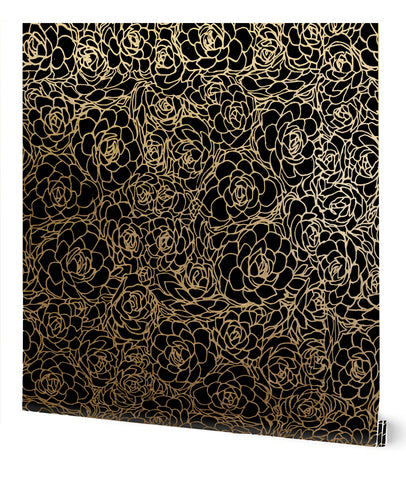 Succulent Wallpaper in Black on Gold by Tommassini Walls