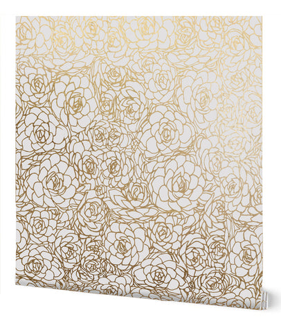 Succulent Wallpaper in Cream on Gold by Tommassini Walls