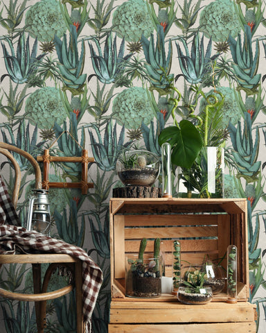 Succulents Wallpaper in Taupe and Green from the Rediscovered Paradise Collection by Mind the Gap