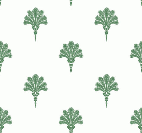 Summer Fan Wallpaper in Greenery from the Beach House Collection by Seabrook Wallcoverings