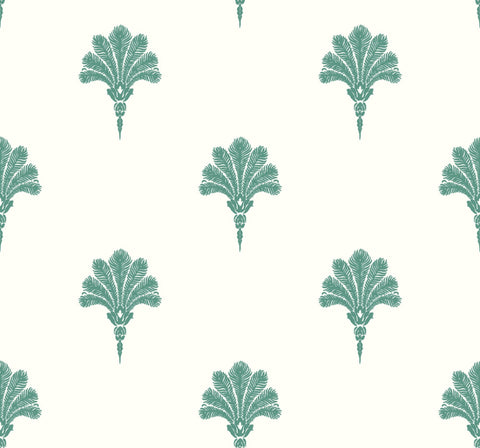 Summer Fan Wallpaper in Tropic Green from the Beach House Collection by Seabrook Wallcoverings