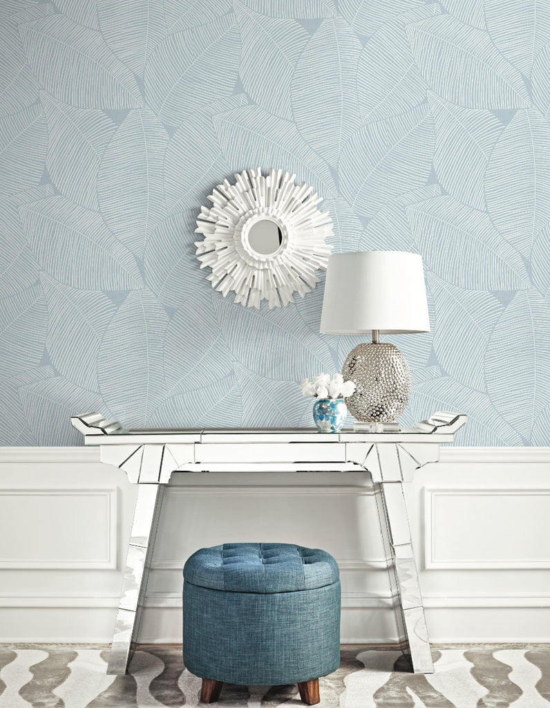 Summer Magnolia Wallpaper in Blue Oasis from the Beach House Collection by Seabrook Wallcoverings