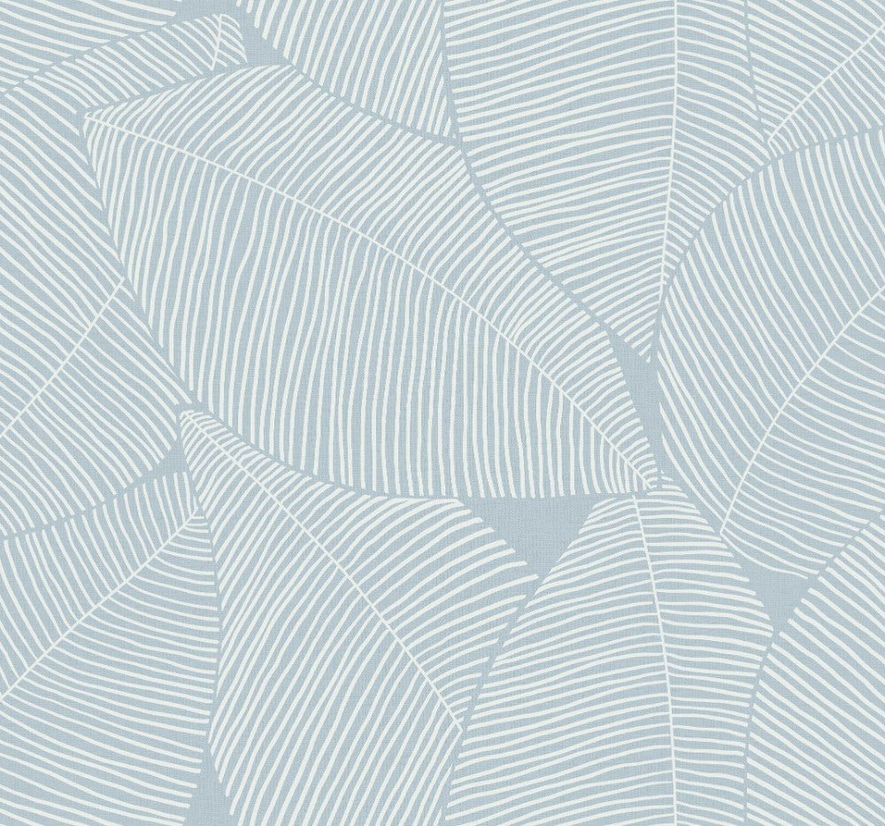 Sample Summer Magnolia Wallpaper in Blue Oasis from the Beach House Collection by Seabrook Wallcoverings