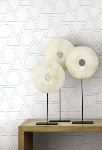 Sun Shapes Wallpaper in Blue Oasis from the Beach House Collection by Seabrook Wallcoverings