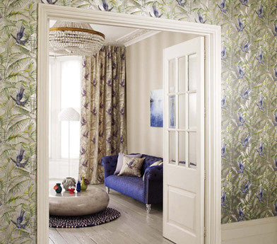 Sunbird Wallpaper in Metallic Pebble and Blue by Matthew Williamson for Osborne & Little