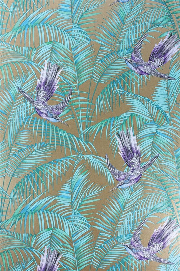 Sunbird Wallpaper in Bronze and Purple by Matthew Williamson for Osborne & Little