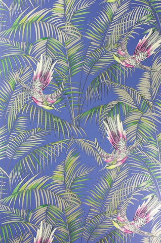 Sunbird Wallpaper in Electric Blue and Fuchsia by Matthew Williamson for Osborne & Little