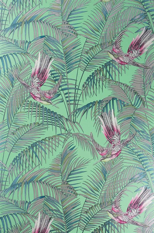 Sunbird Wallpaper in Grass, Cerise, and Metallic Gilver by Matthew Williamson for Osborne & Little