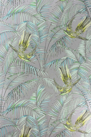 Sunbird Wallpaper in Metallic Silver and Lemon by Matthew Williamson for Osborne & Little