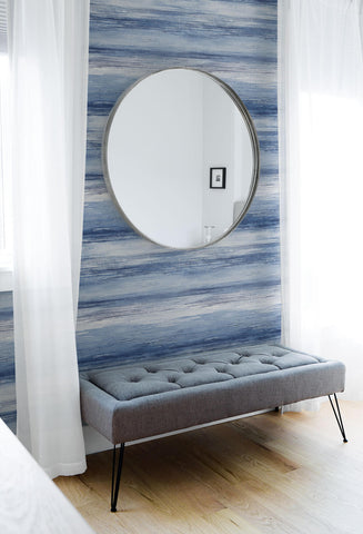 Sunset Stripes Wallpaper in Moody Blue and Frost from the Living With Art Collection by Seabrook Wallcoverings