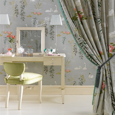 Swan Lake Wallpaper in Golden by Nina Campbell for Osborne & Little