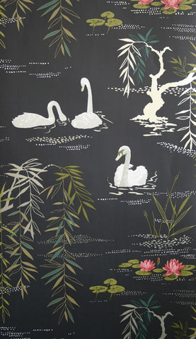 Swan Lake Wallpaper in Midnight by Nina Campbell for Osborne & Little