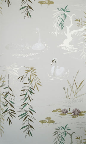 Swan Lake Wallpaper in Pearlesque by Nina Campbell for Osborne & Little