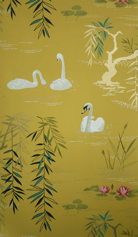 Swan Lake Wallpaper in Sunset by Nina Campbell for Osborne & Little