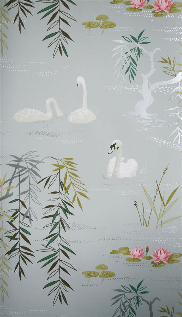 Swan Lake Wallpaper in Twilight by Nina Campbell for Osborne & Little