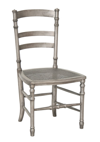 Swedish Cane Side Chair in Tarnished Silver design by Redford House