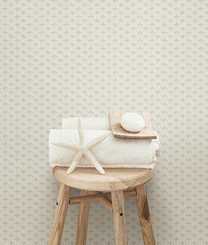 Sweetgrass Grey Trellis Wallpaper from the Seaside Living Collection by Brewster Home Fashions