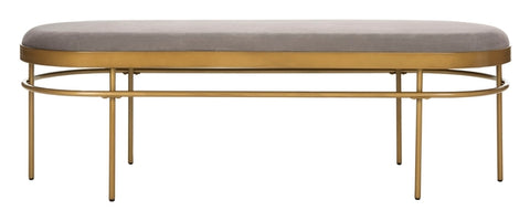 Sylva Oval Bench in Grey and Gold