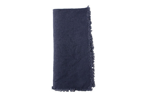 Lithuanian Linen Fringe Napkin in Cobalt Blue design by Canvas
