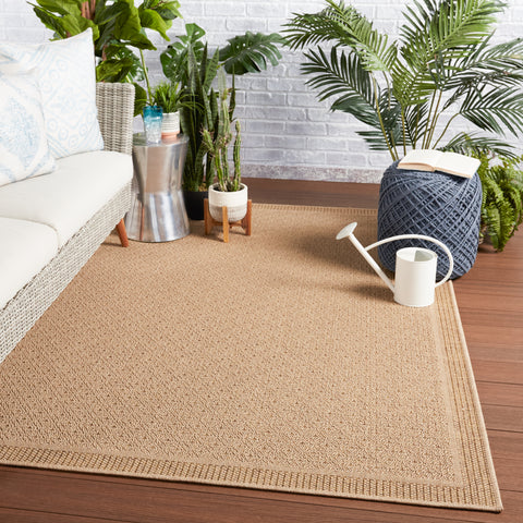 Maeva Indoor/Outdoor Border Beige Rug by Jaipur Living