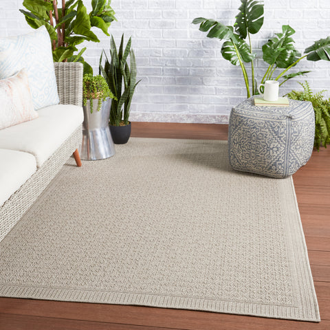Maeva Indoor/Outdoor Border Grey Rug by Jaipur Living