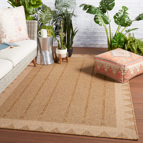 Akamai Indoor/Outdoor Border Beige & Light Brown Rug by Jaipur Living