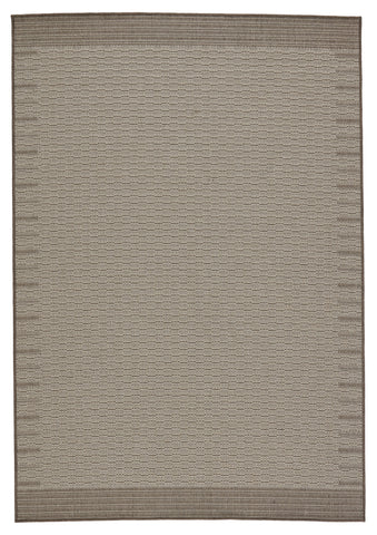Poerava Indoor/Outdoor Border Grey & Taupe Rug by Jaipur Living