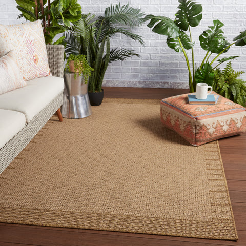 Poerava Indoor/Outdoor Border Beige & Light Brown Rug by Jaipur Living