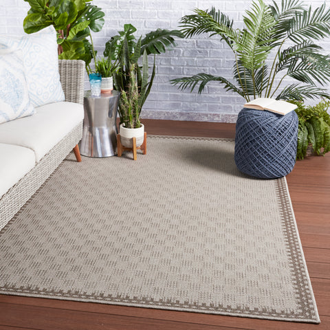 Tiare Indoor/Outdoor Border Grey & Taupe Rug by Jaipur Living
