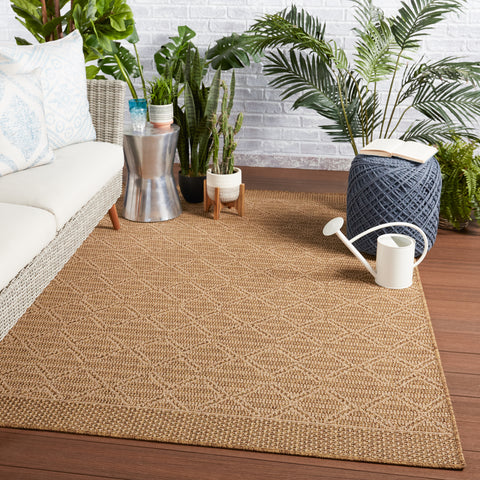 Motu Indoor/Outdoor Trellis Light Brown & Beige Rug by Jaipur Living