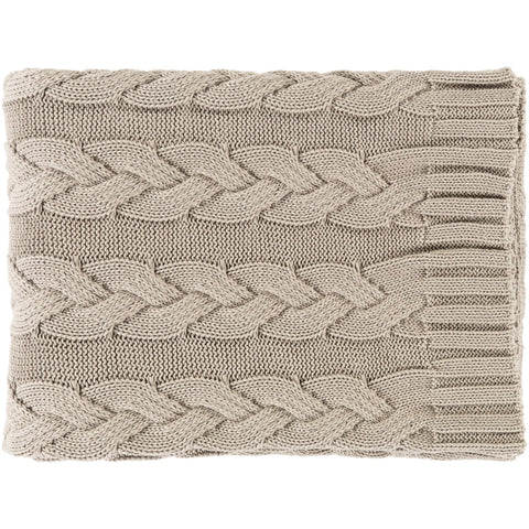 Thea TEH-1001 Knitted Throw in Khaki by Surya