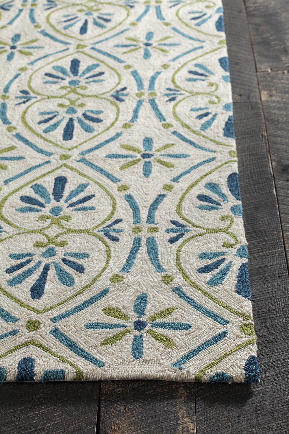 Terra Collection Hand Tufted Area Rug In Cream Blue Green Burke Decor
