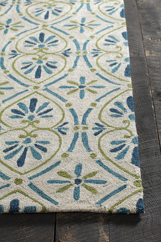 Terra Collection Hand-Tufted Area Rug in Cream, Blue, & Green