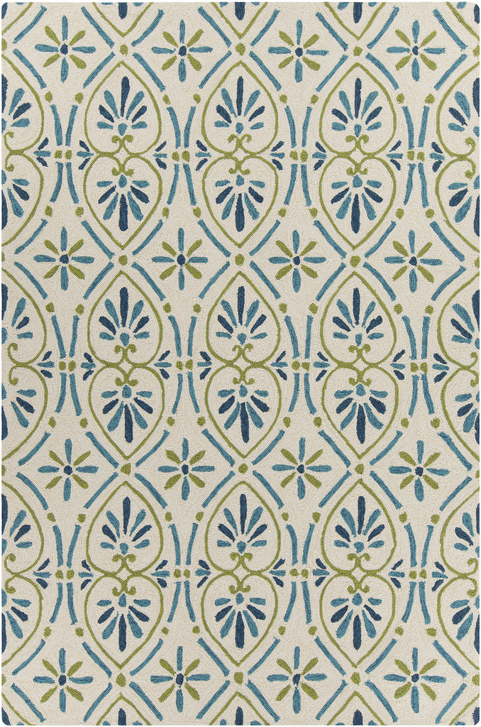 Terra Collection Hand-Tufted Area Rug in Cream, Blue, & Green design by Chandra rugs
