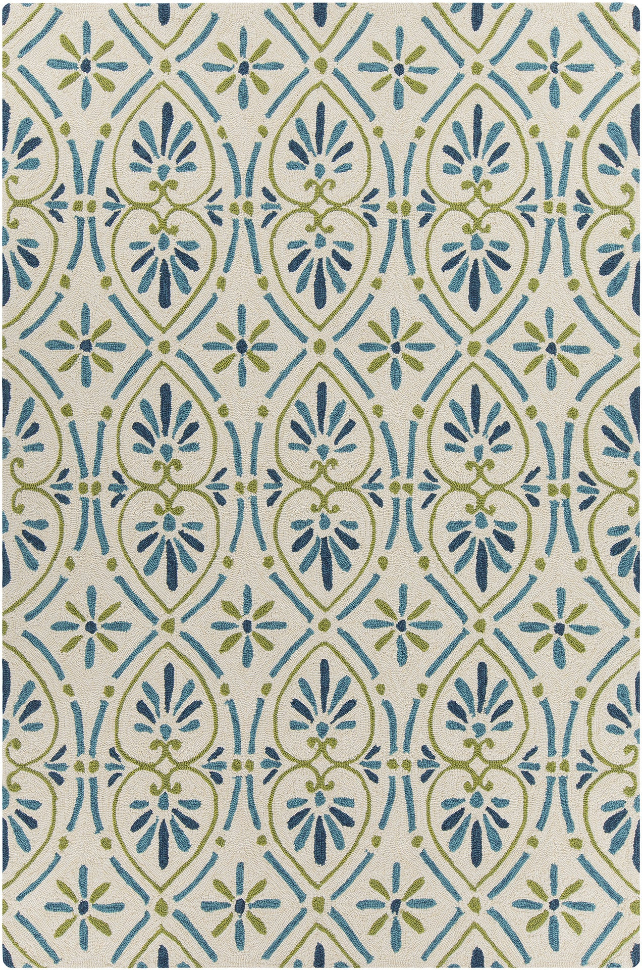 Terra Collection Hand Tufted Area Rug in Cream Blue & Green